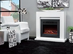 - Wall-mounted electric fireplace with panoramic glass EVITA SUITE - BRITISH FIRES