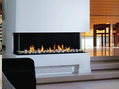 - Gas fireplace with panoramic glass PANORAMA 110 - BRITISH FIRES