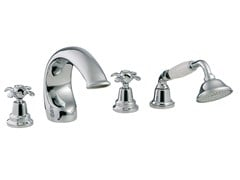 - 4 hole bathtub set with hand shower NUOVA RETRÒ | 4 hole bathtub set - Rubinetterie 3M