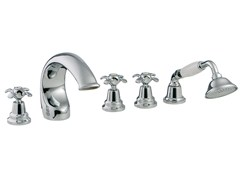 - 5 hole bathtub set with hand shower NUOVA RETRÒ | 5 hole bathtub set - Rubinetterie 3M