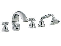 - 4 hole bathtub set with hand shower OLD ITALY | 4 hole bathtub set - Rubinetterie 3M