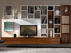 - Sectional lacquered solid wood storage wall ELETTRA DAY | Sectional storage wall - Cantiero