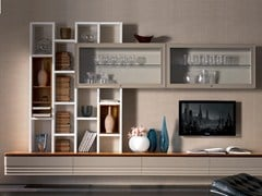 - Sectional solid wood storage wall ELETTRA DAY | Walnut storage wall - Cantiero