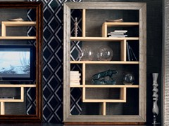 - Wall-mounted silver leaf TV wall system ÉTOILE DAY | Silver leaf bookcase - Cantiero