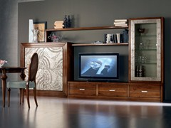 - Sectional silver leaf storage wall ÉTOILE DAY   Wooden storage wall - Cantiero