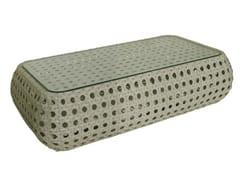 - Low Rectangular synthetic fibre garden side table ISABEL | Rectangular garden side table - Il Giardino di Legno