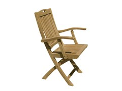 - Folding wooden garden chair with armrests MOON | Garden chair with armrests - Il Giardino di Legno