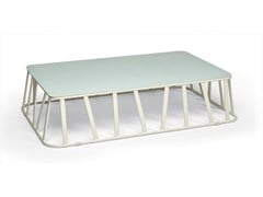 - Low Rectangular glass and aluminium garden side table HAMPTONS GRAPHICS | Rectangular coffee table - Roberti Rattan