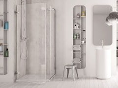 - Corner glass shower cabin with hinged door SOFTGLASS PA1+FA1 - MEGIUS