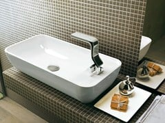 - Countertop rectangular ceramic washbasin with overflow PASS 60 | Countertop washbasin - CERAMICA FLAMINIA