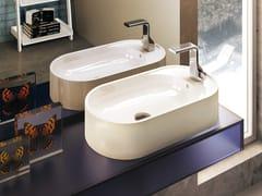 - Countertop oval ceramic handrinse basin PASS | Countertop handrinse basin - CERAMICA FLAMINIA