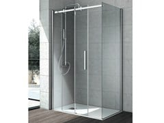 - Corner crystal shower cabin with sliding door FLOW | Corner shower cabin - GRUPPO GEROMIN
