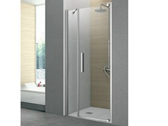- Cabin shower with one pivot door and fixed side PIVOT | Crystal shower cabin - GRUPPO GEROMIN