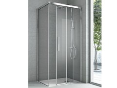 - Shower cabin with one fixed panel and one sliding door ASTER | Crystal shower cabin - HAFRO