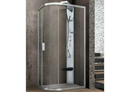 - Semi-quadrant crystal shower cabin with one sliding door ASTER-T | Corner shower cabin - GRUPPO GEROMIN