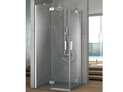 - Corner crystal shower cabin with two shutter doors ELEMENT | Corner shower cabin - GRUPPO GEROMIN