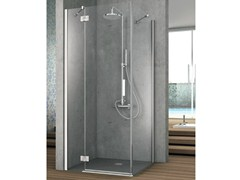 - Corner shower cabin with one shutter door and one fixed side ELEMENT | Crystal shower cabin - HAFRO
