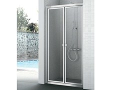 - Crystal shower cabin with two shutter doors EASY | Shower cabin with hinged door - GRUPPO GEROMIN