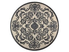 - Contemporary style handmade square custom rug CARDINAL CIRCLE PEARL - EDITION BOUGAINVILLE