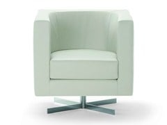 - Upholstered leather armchair with 4-spoke base with armrests BAY | Armchair with 4-spoke base - ROSSIN