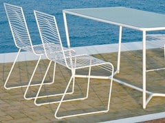 - Sled base stackable powder coated steel garden chair GRID | Garden chair - CIACCI