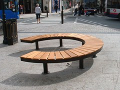 - Sectional Curved steel and wood Bench CHRONOS 69° - Factory Street Furniture