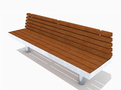 - Stainless steel and wood Bench with back TREE STRAIGHT | Bench with back - Factory Street Furniture