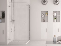 - Corner glass shower cabin with hinged door SOFTGLASS PA3+FA3 - MEGIUS