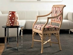 - Upholstered rattan chair with armrests GIULIANA | Chair with armrests - Dolcefarniente by DFN
