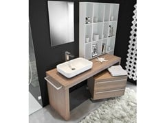 - Floor-standing single walnut vanity unit MARIPOSA 48 | Vanity unit - LASA IDEA