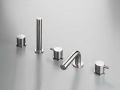 - 5 hole stainless steel bathtub set with hand shower COCOON MONO SET44 - COCOON