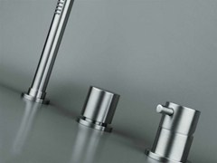 - 3 hole stainless steel bathtub set with diverter COCOON MONO SET43 - COCOON