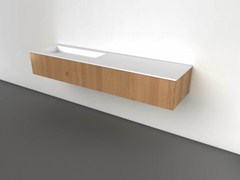 - Wall-mounted oak vanity unit with drawers COCOON HIDDEN 90 | Oak vanity unit - COCOON