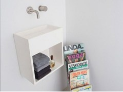 - Wall-mounted Solid Surface® handrinse basin with towel rail COCOON SANT JORDI II - COCOON