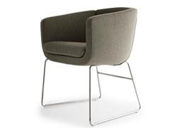 - Sled base upholstered fabric armchair with armrests TULIP SIXTY | Sled base armchair - B&B Italia Project, a brand of B&B Italia Spa