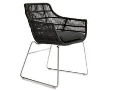 - Sled base polyethylene garden chair with armrests CRINOLINE   Chair with armrests - B&B Italia Outdoor, a brand of B&B Italia Spa