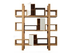 - Open sectional wood veneer bookcase DURAS | Open bookcase - AZEA