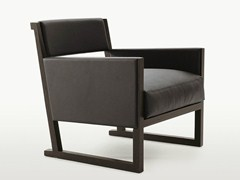 - Upholstered leather armchair with armrests MUSA | Leather armchair - Maxalto, a brand of B&B Italia Spa