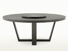 - Round wooden table with Lazy Susan XILOS | Round table - Maxalto, a brand of B&B Italia Spa