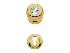 Classic style brass door knob with Swarovski® Crystals with lock ELIKA CRYSTAL | Door knob with lock - LINEA CALI'