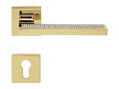 Design brass door handle with Swarovski® Crystals with lock SINTESI MESH | Door handle with lock - LINEA CALI'