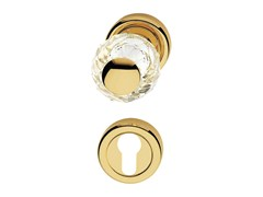 - Chromed brass door knob with Swarovski® Crystals with lock VERONICA | Door knob with lock - LINEA CALI'