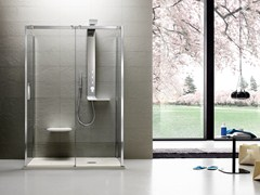 - Tempered glass shower cabin with tray with sliding door OTTO PREMIUM | Shower cabin - ARBLU