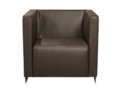 - Upholstered leather armchair with armrests LOBSTER | Armchair - AZEA