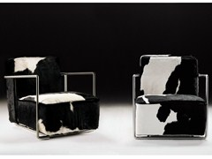 - Upholstered cowhide armchair with armrests A.B.C | Cowhide armchair - FLEXFORM