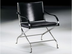 - Folding tanned leather chair with armrests CARLOTTA | Chair with armrests - FLEXFORM