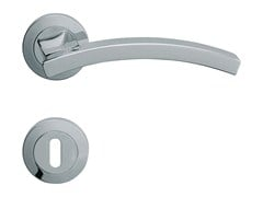 Design brass door handle with lock PROFILO | Door handle with lock - LINEA CALI'