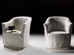 - Fabric armchair with armrests with removable cover DORALICE | Fabric armchair - FLEXFORM