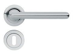 - Chromed brass door handle on rose with lock TRENDY | Door handle on rose - LINEA CALI'
