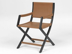 - Tanned leather chair with armrests EMILY | Chair with armrests - FLEXFORM